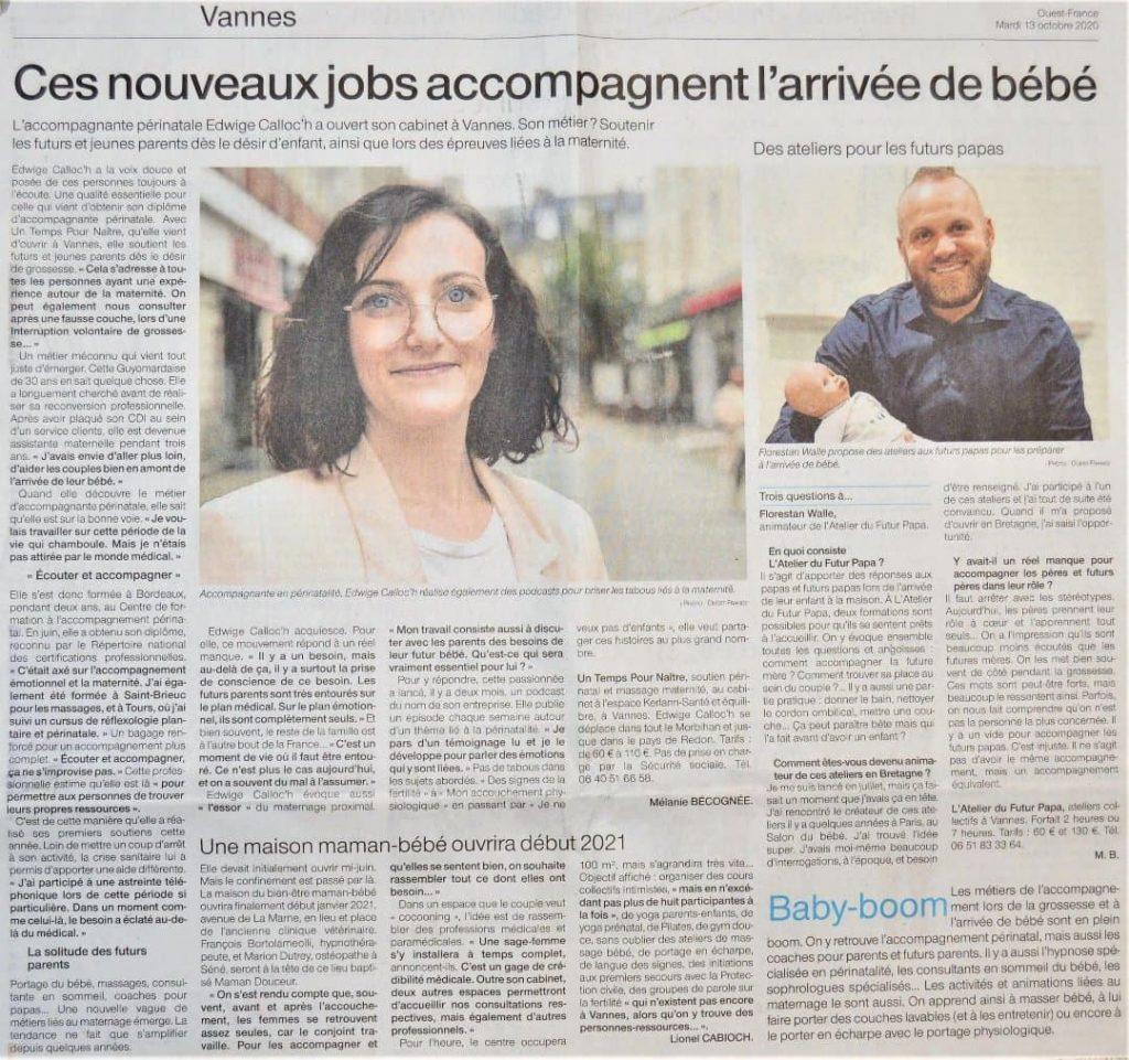 article Ouest-France Morbihan, 13/10/2020